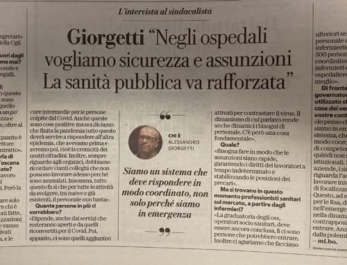"""Su La Repubblica Firenze l'intervista al nostro segretario generale Alessandro Giorgetti: """"Sicurezza e assunzioni, la sanità pubblica va rafforzata"""""""