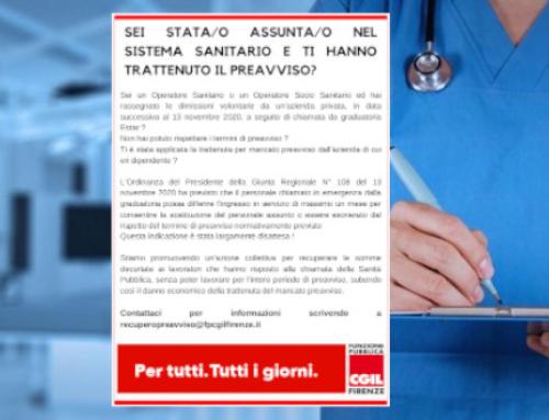 Recupero trattenuta mancato preavviso agli Operatori Sanitari e agli Operatori Socio Sanitari dimessi dopo il 13 novembre 2020 per chiamata da graduatoria Estar