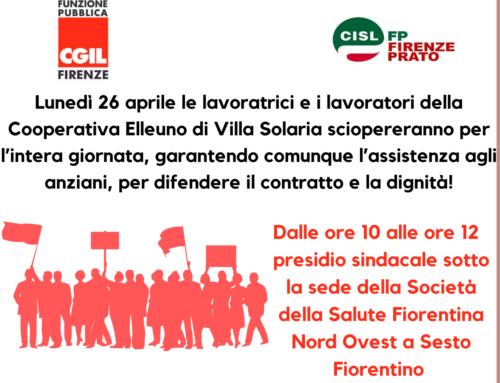 Lunedì 26 aprile sciopero Cooperativa Elleuno – RSA Villa Solaria contro la soppressione del pagamento dei primi tre giorni di malattia
