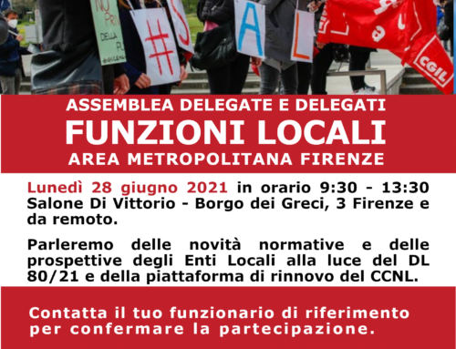 Lunedì 28 giugno: Assemblea delegate e delegati Funzioni Locali dell'area metropolitana fiorentina